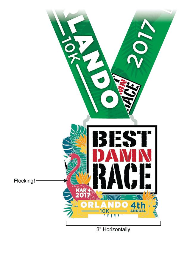 Orlando - Best Damn Race - 2017 - 10K Medal