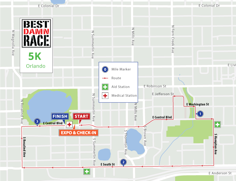 5K Map - Orlando Best Damn Race - 2017