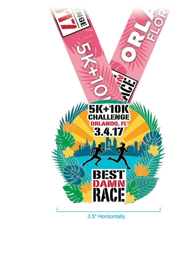 Orlando - Best Damn Race - 2017 - 5K+10K Challenge Medal