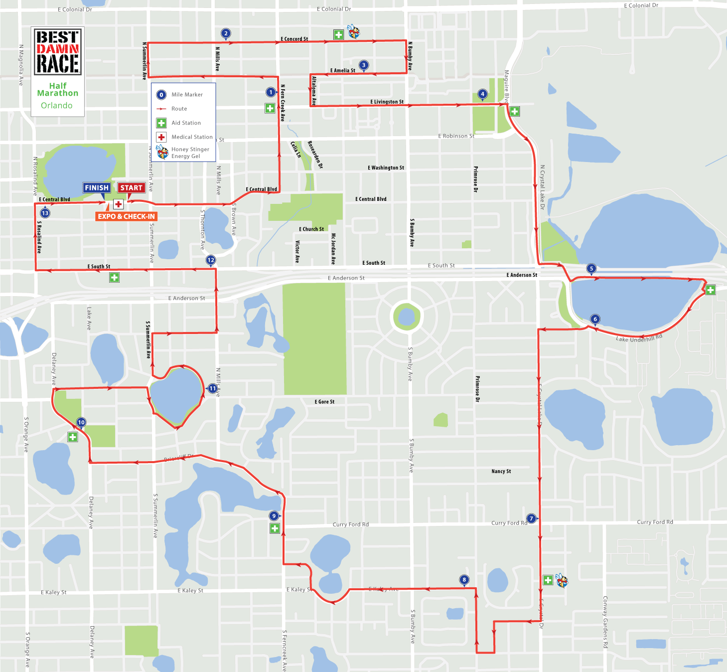 Half Marathon Map - Orlando Best Damn Race - 2017