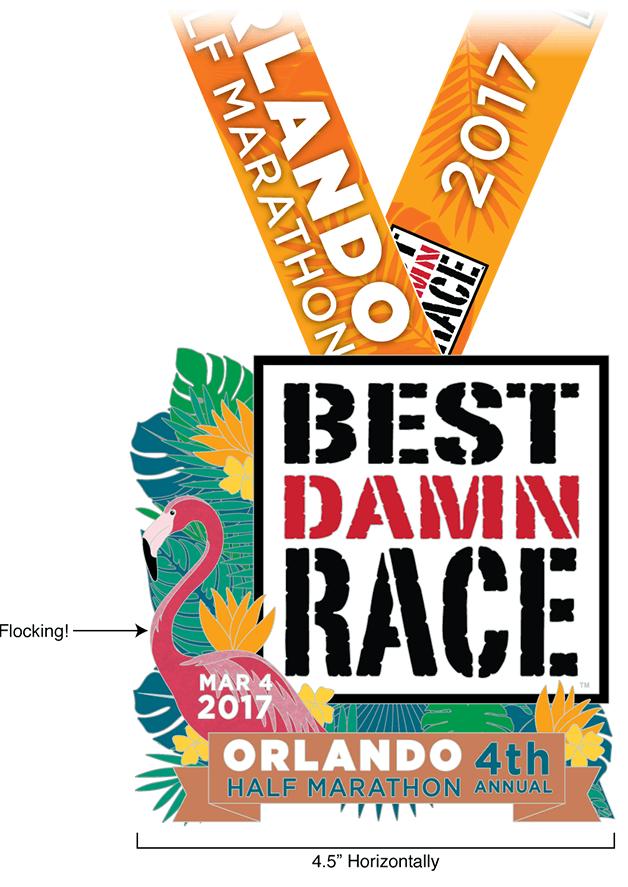Orlando - Best Damn Race - 2017 - Half Marathon Medal