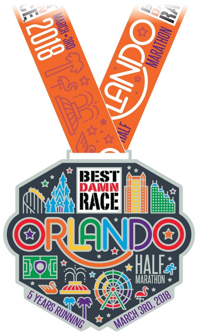 Orlando - Best Damn Race - 2018 - Half Marathon Medal
