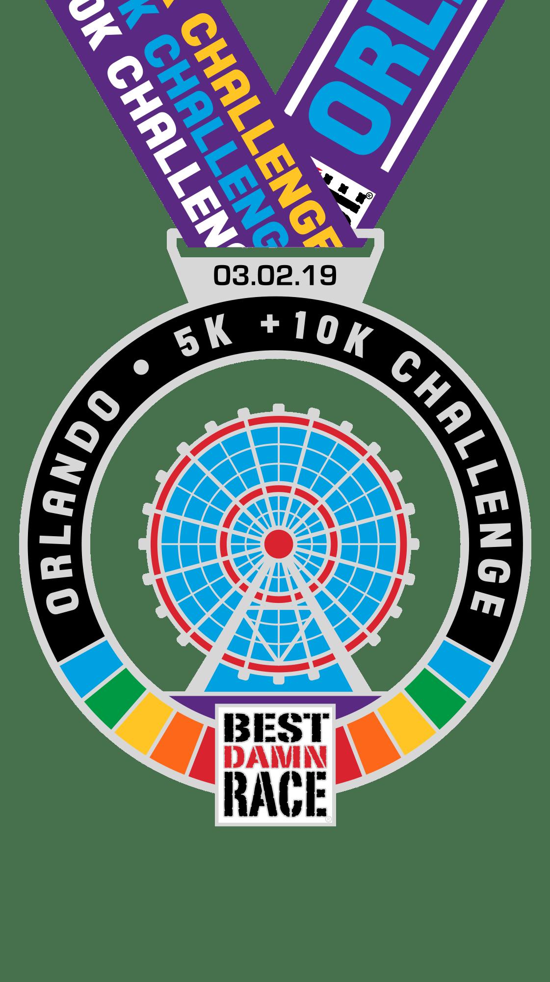 Orlando - Best Damn Race - 2018 - 5K+10K Challenge Medal